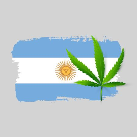 Isolated Argentina flag with realistic cannabis leaf. Hand draw ink country symbol. Permit program concept background. Vector Illustration