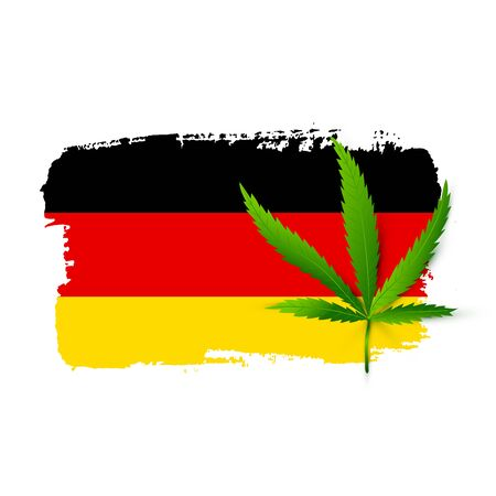 Isolated Germany flag with realistic cannabis leaf. Hand draw ink country symbol. Permit program concept background. Vector Illustration