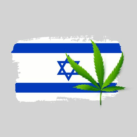 Isolated Israel flag with realistic cannabis leaf. Hand draw ink country symbol. Permit program concept background. Vector Illustration Ilustrace