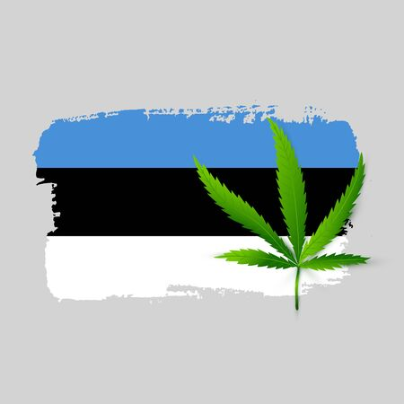 Isolated Estonia flag with realistic cannabis leaf. Hand draw ink country symbol. Permit program concept background. Vector Illustration Ilustrace