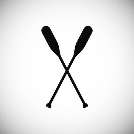 Silueta de bote de remos o remos cruzados para patrón imprimible. Símbolo de canoa para logotipo, icono, sello para club deportivo. Cráneo de madera negro aislado lumbar. Ilustración vectorial
