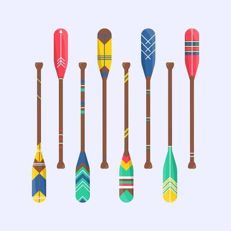 Ensemble de bateau à aubes de rame mignon en style cartoon. Symbole de kayak en bois isolé. Signe lombaire pour l'arrière-plan du tissu. Accessoire imprimable à la maison. Illustration vectorielle de décor