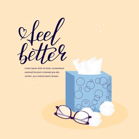Medicine card with hand lettering feel better positive motivation words. Doodle script font and glasses, napkin background. Font shape for print. Healthcare. Vector Illustration
