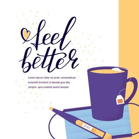 Medicine card with hand lettering feel better positive motivation words. Doodle script font and cup, mask background. Font shape for print. Heart. Vector Illustration