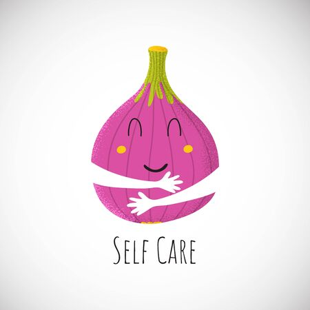 Self care cute fig character hug itself. Sticker baby print icon in cartoon style. Food kid. Vector Illustration