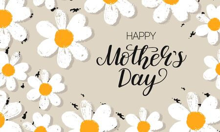 Template banner Happy Mother's Day card with hand draw daisy or chamomile background with brush ink. bVector Illustration