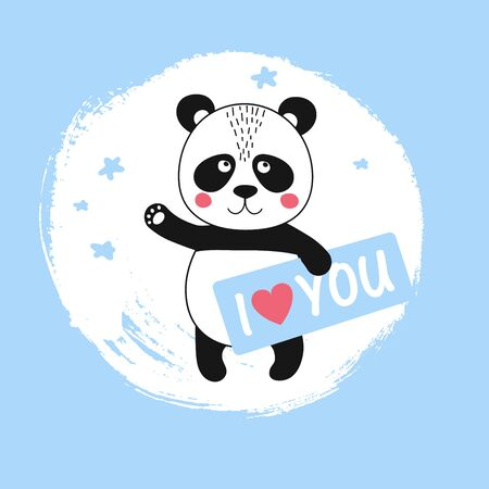 Vector cute panda character waving and holding shape I love You. Funny kid animal in scandinavian style. Kawaii wild bear for baby shower party, holiday, poster, card
