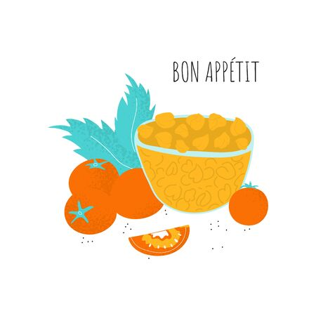 Bon Appetit poster template with chickpeas on plate, tomato, leaf composition. Vector gram in scandinavian style. Healthy dinner protein food. Background illustration Vettoriali
