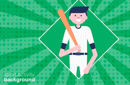 Template banner with baseball cartoon character in flat style. Baseball player with willow. Retro style. Background. Vector Illustration