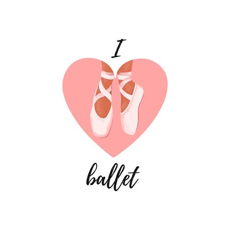 I love ballet poster with ballerina point shoes on pink heart. Icon, label for ballet class, dance lessons.