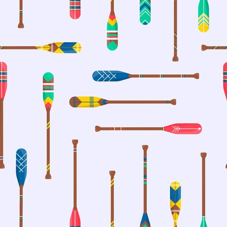 Seamless pattern with cute oar paddle boat in cartoon style. Wood kayak symbol. Lumbar sign for fabric pattern background. Home printable accessory. Decor vector illustration Vecteurs