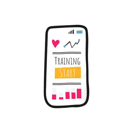 Modern training equipment workout. Cell phone app for stay home and doing sport. Isolated vector illustration in modern flat style Ilustração