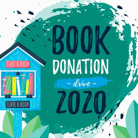 Template poster with free books library and words Book Donation drive 2020. Charity concept vector background. New life for second goods. Printable card on hand draw paint ink. Vector illustration