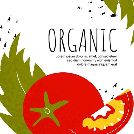 Template healthy poster.  Background with tomato and leaf. Shop, sale, market concept. Healthy food. Vector illustration  Illustration