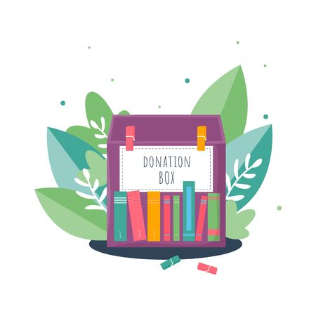 Donation box with books and big leaves background in modern flat style. Isolated charity recycle gift. New life for used book concept. Vector Illustration
