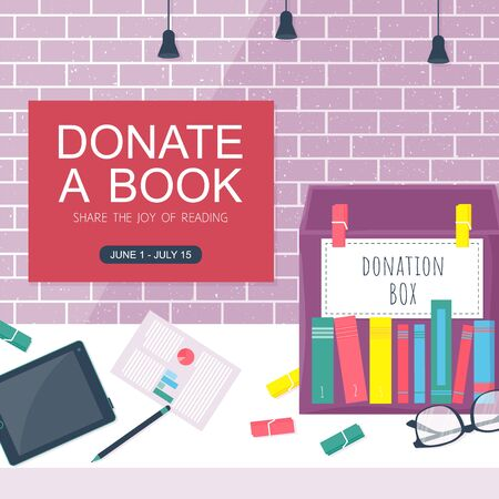 Template background with box for donation book on brick wall. Charity concept vector banner. Printable card with paper box, glasses, tablet, pencil. Vector illustration Illustration