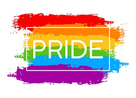 Hand draw LGBT pride with rainbow in vector format. Grunge flag with word PRIDE for poster. LGBTQ love symbol background. Concept design