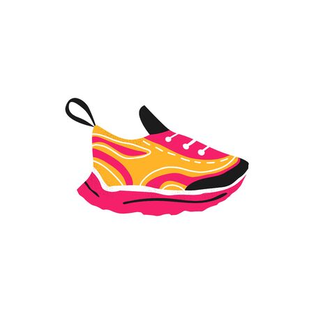 Training girl sport shoe. Pink sneaker icon in trendy flat style. Isolated woman modern running footwear. Vector illustration