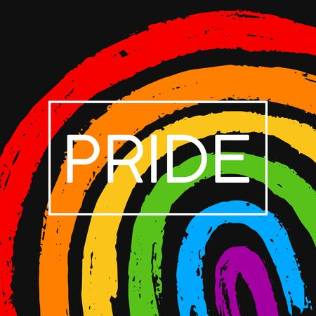 Template poster with hand draw LGBT pride with rainbow in vector format. Grunge flag with word PRIDE for poster. Concept design