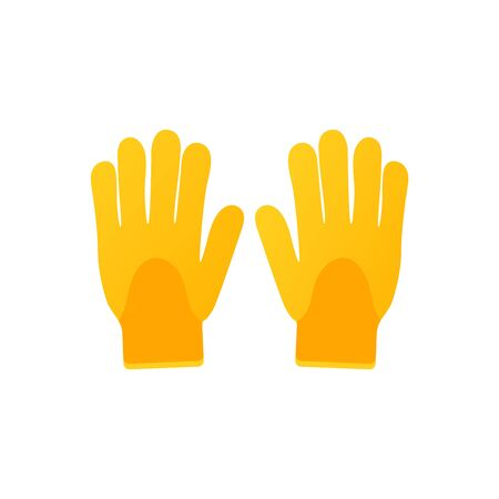 Gardening safety gloves vector icon on white background. Isolated garden tool in modern flat style. Two gloves. Illustration Stock Illustratie