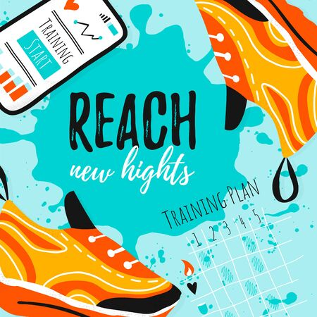 Template vector sport card design with shoe, cell phone and training plan. Reach new hights on hand draw brush ink background. Healthy workout Vector illustration