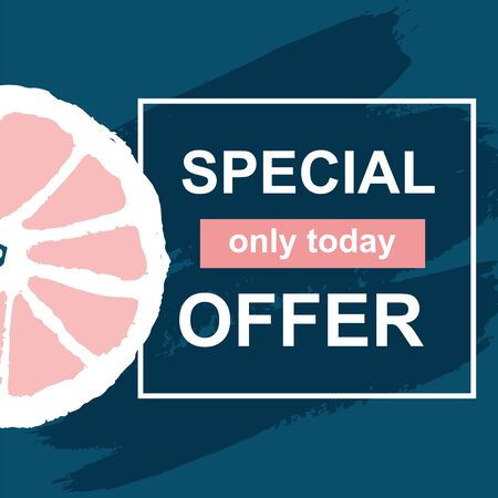 Summer special offer vector banner with fresh citrus fruit on hand draw brush ink. Discount only today. Template layout concept. Vector Illustration