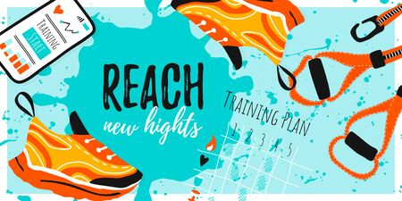 Template vector banner for sport with shoe sneakers, cell phone  and training plan. Reach new heights on hand draw brush ink background. Healthy workout Vector illustration Stock Illustratie