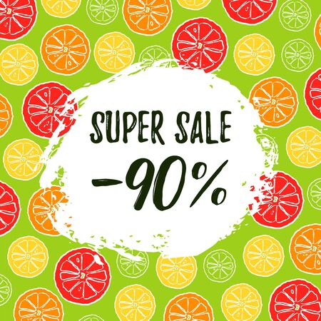 Summer sale vector banner with fresh citrus fruit. Discount 90 off. Template layout concept with hand draw brush ink. Vector Illustration