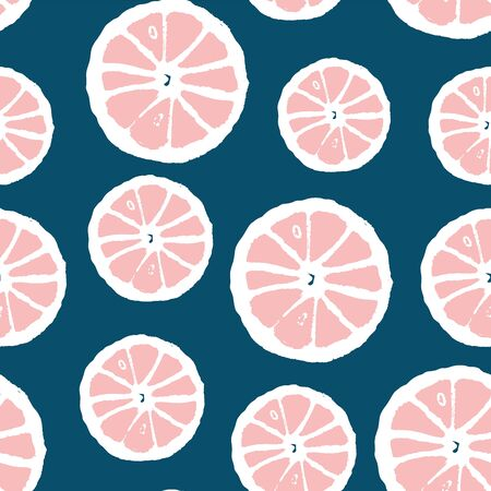 Seamless pattern with pink  citrus fruit design. Repeat  background for sale, textile, pillow, poster, banner. Vector Illustration