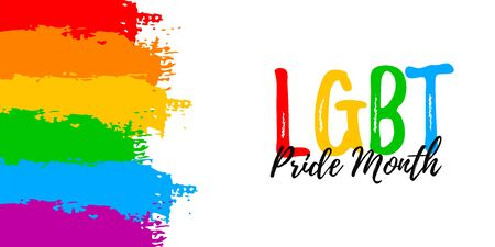 Template banner with hand draw LGBT rainbow flag in vector format. Love symbol background. Concept design Stock Illustratie