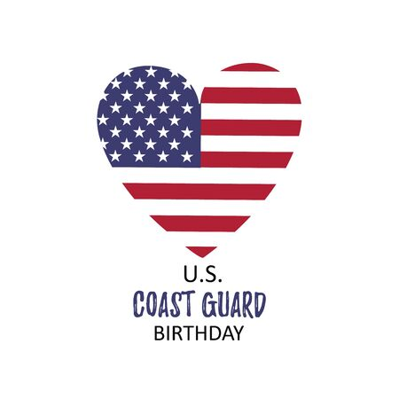 Template card with USA flag in heart and US Coast Guard Birthday. 4 August. History of homeland security. Vector illustration Stock Illustratie