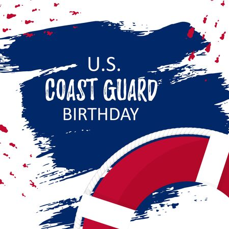 Template card with US Coast Guard Birthday on brush paint ink. Flat lifebuoy with white rope. Concept vector illustration background