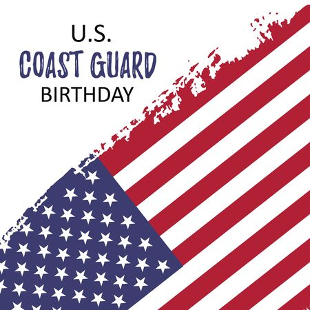 Template poster with US Coast Guard Birthday words on brush paint ink with American flag in heart. Concept vector illustration background