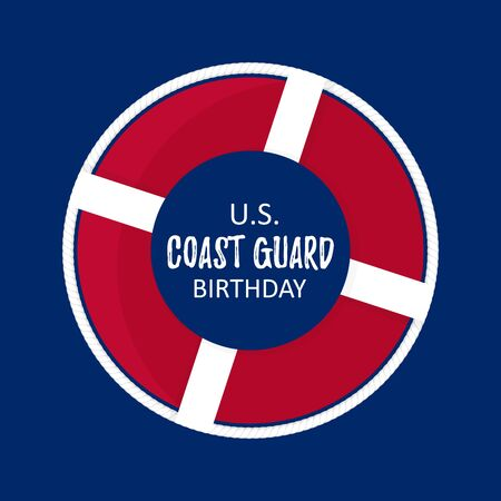 Template card with US Coast Guard Birthday with flat lifebuoy with white rope. Concept vector illustration background Stock Illustratie