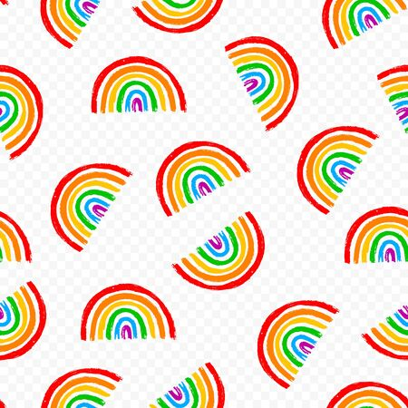 Seamless pattern with LGBT vector rainbow. Wallpaper fabric hand draw illustration. LGBTQ love element. Concept design. Printable repeat illustration Stock Illustratie