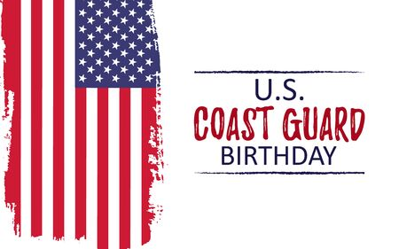 Template poster for US Coast Guard Birthday. Celebration background with usa brush paint flag. Remember and Honer Day. Vector Illustration