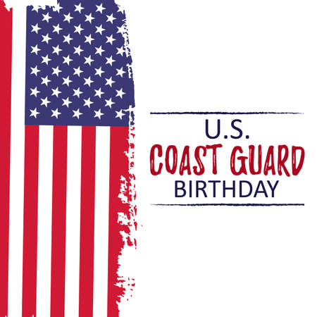 Template banner for US Coast Guard Birthday. Celebration background with usa brush paint flag. Remember and Honer Festival  Day. Vector Illustration