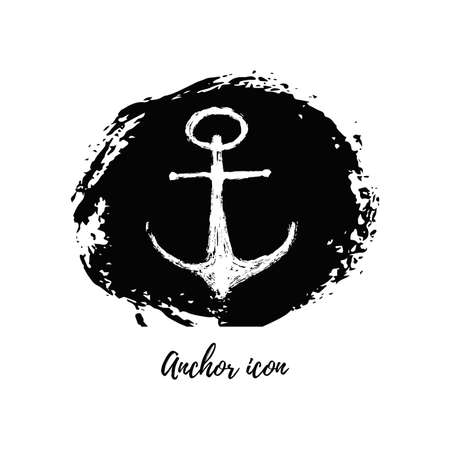 Isolated grunge drawing anchor icon. Sea boat vintage logo on hand draw circle brush ink. Background for printable products. Vector illustration Stock Illustratie