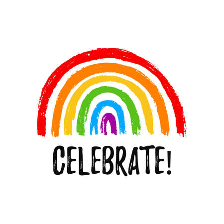 Celebrate. Hand draw LGBT pride with rainbow in vector format. Grunge flag with word Stop Homophobia for poster. LGBTQ love symbol background. Concept design