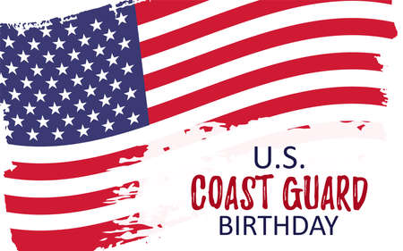 Template banner for US Coast Guard Birthday. Celebration background with usa brush paint flag. Remember and Honer Day. Vector Illustration Stock Illustratie