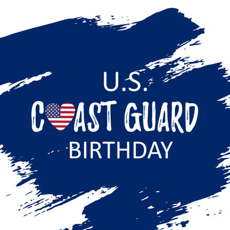 US Coast Guard Birthday. Template card for festival. Celebration history day. August 4. Vector illustration  Stock Illustratie