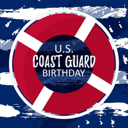 US Coast Guard Birthday vector card template. Backgound for festival with simple flat lifebuoy ring. Celebration history day. August 4. Vector illustration Stock Illustratie