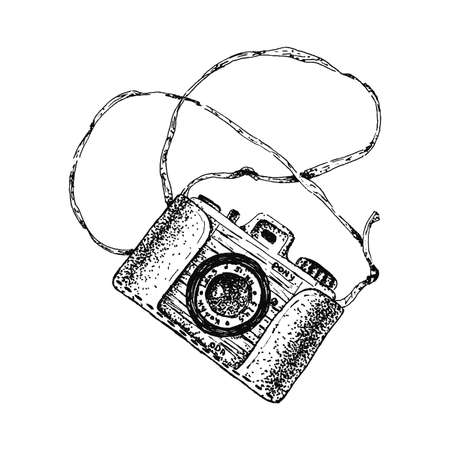 Isolated sketch retro camera. Doodle photo vintage  vector. Hand draw illustration. Drawing outline cute icon. Print background