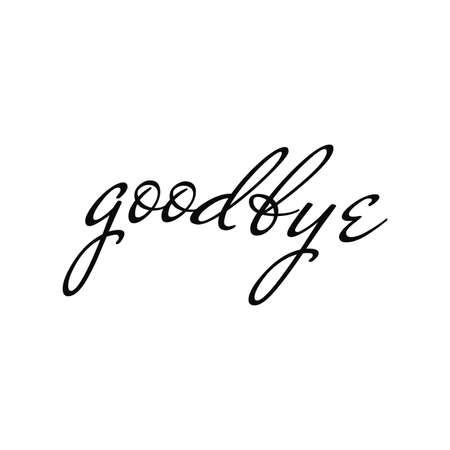 Goodbye text. Good luck message. Farewell vector illustration. Script line design background. Decor element