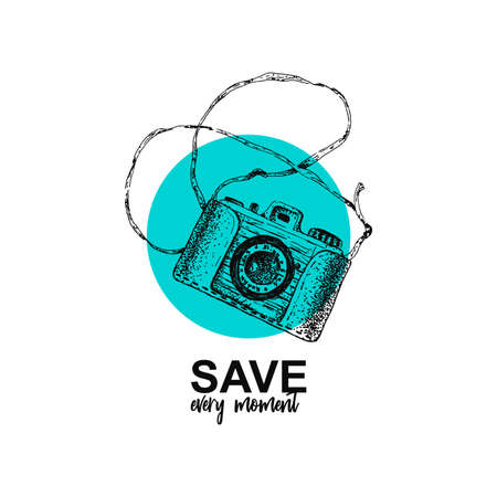 Save every moment. Isolated sketch retro camera on circle.