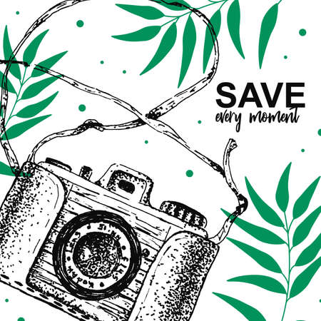 Save every moment quote with hand draw sketch camera and green leaves on the background. Vector illustration. Vintage print poster, card Stock Illustratie