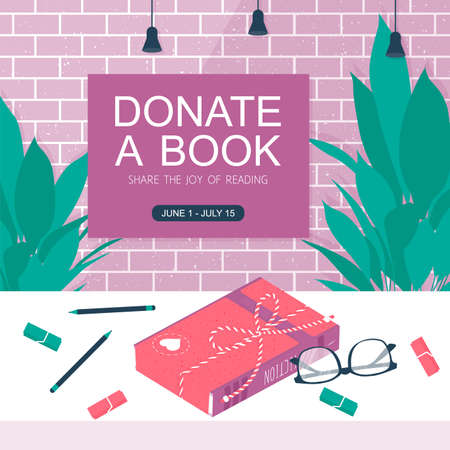 Template background with box for donation book on brick wall. Charity concept vector banner. Printable card with paper box, glasses, tablet, pencil. Vector illustration