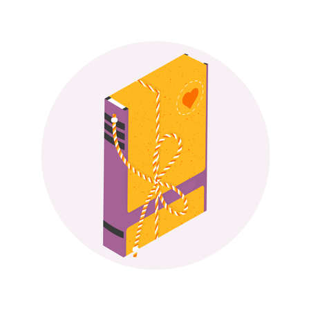 Isolated isometric packed book in modern flat style. Charity recycle gift. New life for used book concept. Vector Illustration