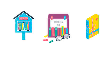 Donation concept set. Free books library in the wooden house, paper box for used, second book and gift for reading. Vector Illustration