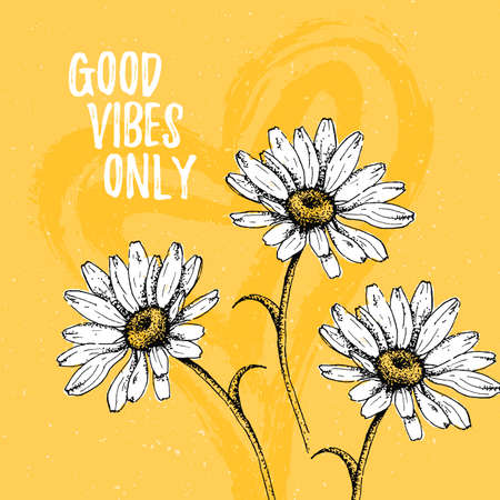 Good Vibes Only quote template card with daisy and heart. Hand draw flower for home interior. Vector Illustration
